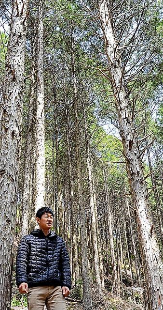 自伐型の林業を3年前に始めた宮崎聖さん。「林業を中心に置くことで、山村の暮らしがうまく循環していくことに気づいた」=高知県四万十市(写真:朝日新聞)