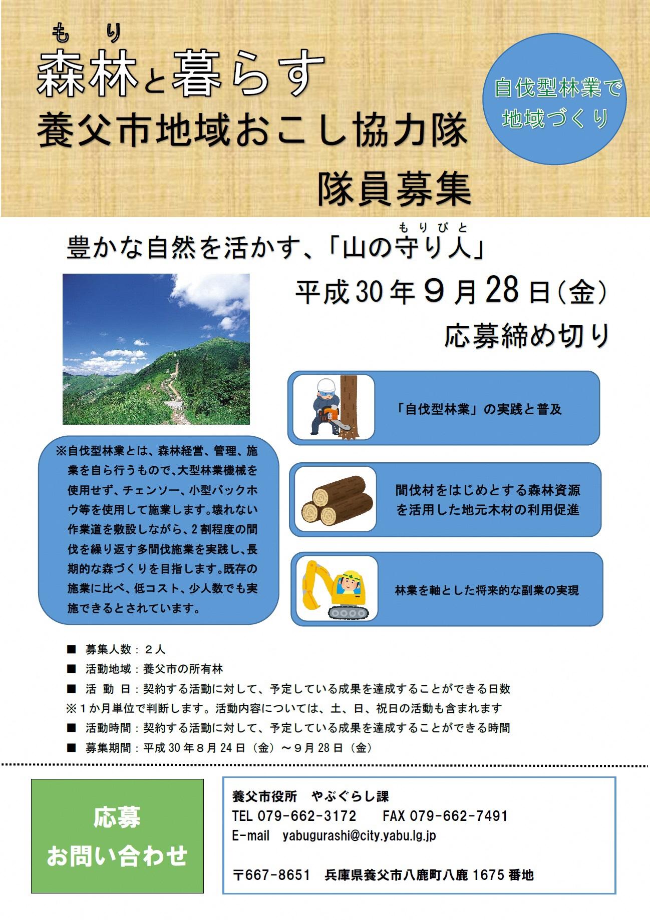 関西で自伐型林業家を募集中!兵庫県養父市の「地域おこし協力隊」(9/28締切)